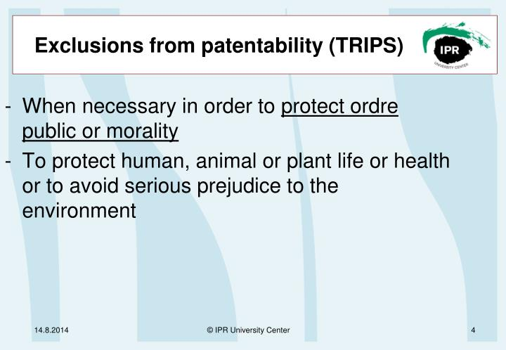 Exclusions from patentability (TRIPS)