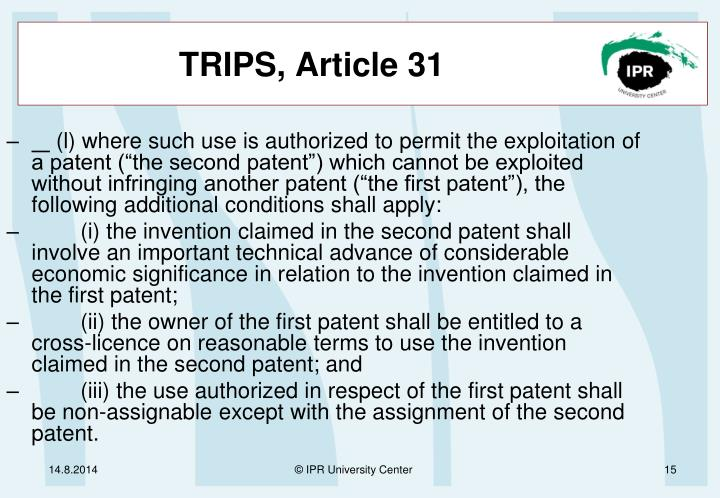 TRIPS, Article 31