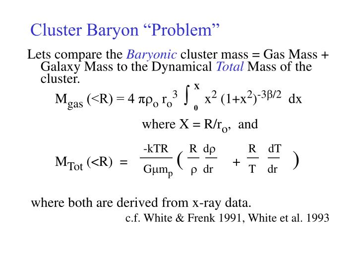 "Cluster Baryon ""Problem"""