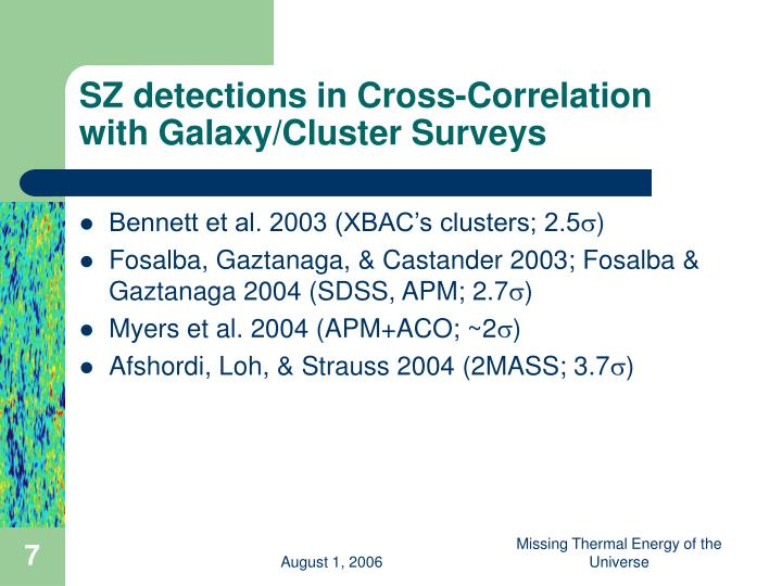 SZ detections in Cross-Correlation