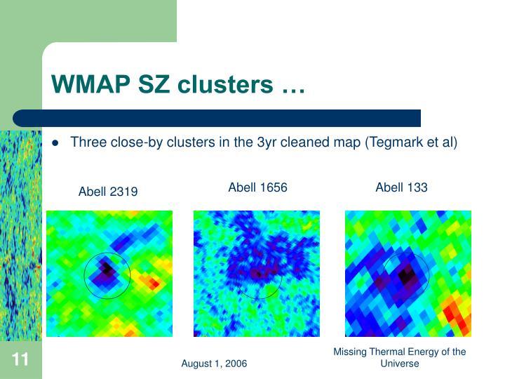 WMAP SZ clusters …
