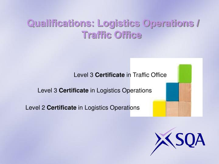 Qualifications: Logistics Operations / Traffic Office