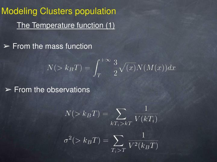 Modeling Clusters population