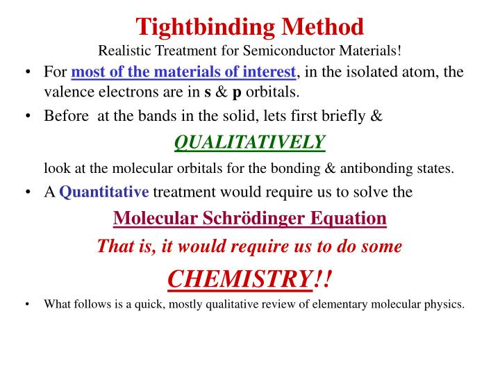 Tightbinding Method