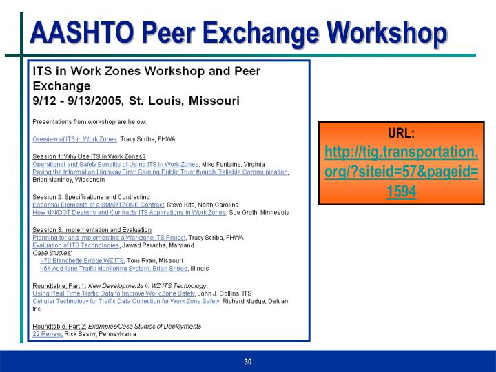AASHTO Peer Exchange Workshop