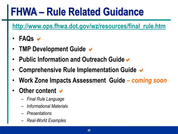 FHWA – Rule Related Guidance