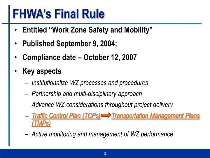 FHWA's Final Rule