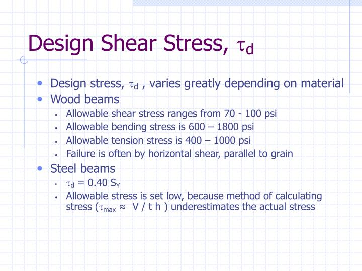 Design Shear Stress,