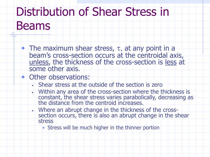 Distribution of Shear Stress in Beams