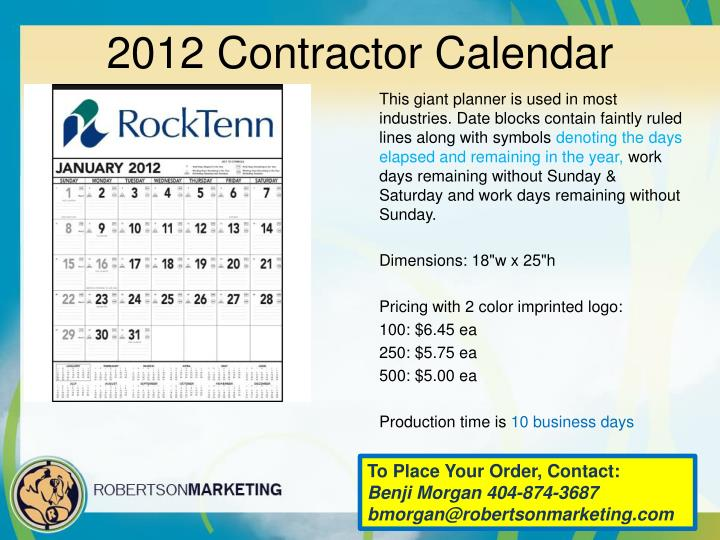 2012 Contractor Calendar