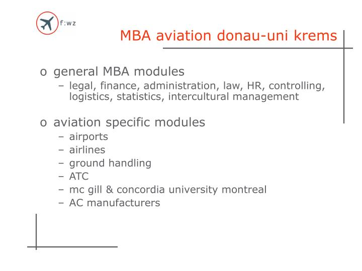 MBA aviation donau-uni krems
