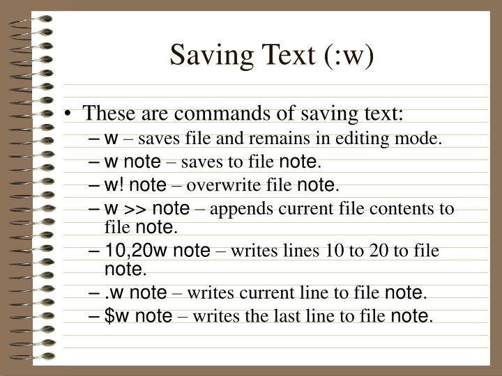 Saving Text (:w)