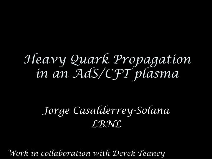Heavy quark propagation in an ads cft plasma
