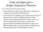 trade and input prices stolper samuelson theorem