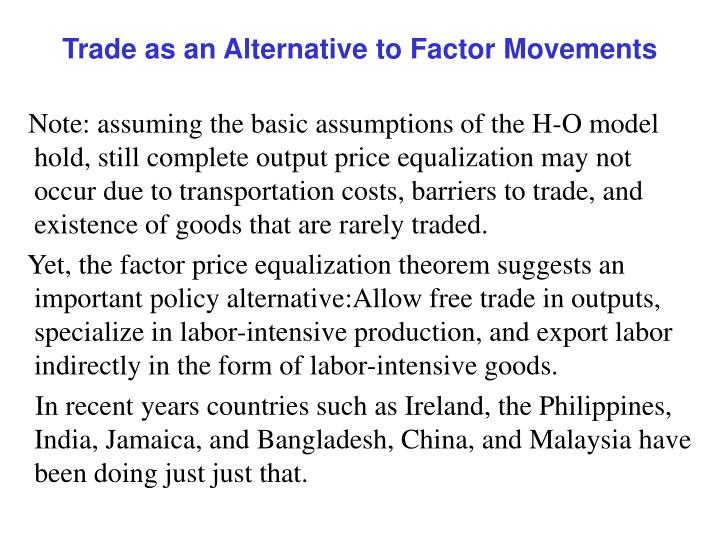 Trade as an Alternative to Factor Movements