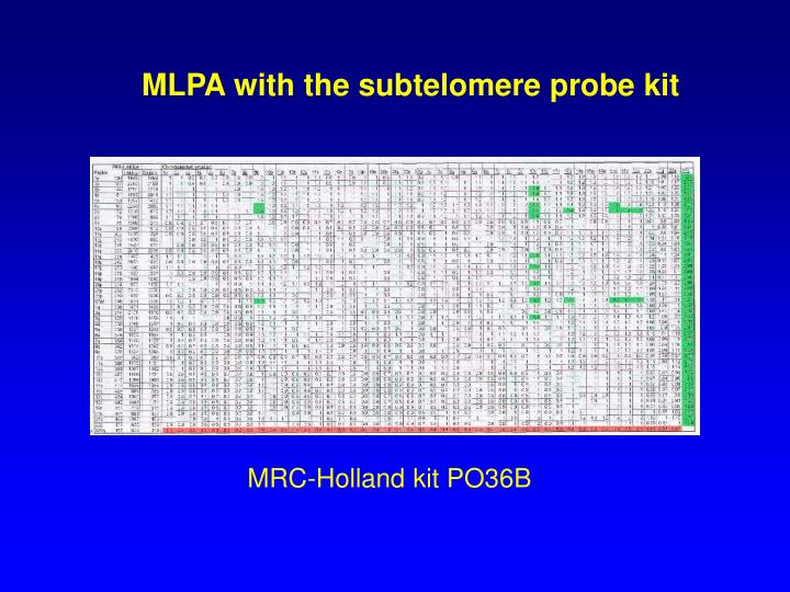 MLPA with the subtelomere probe kit