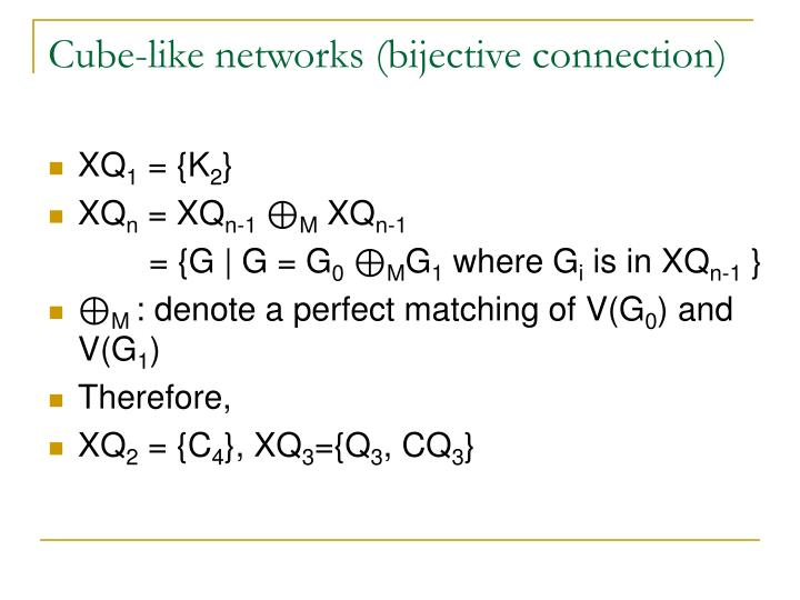 Cube-like networks (bijective connection)