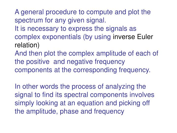A general procedure to compute and plot the spectrum for any given signal.