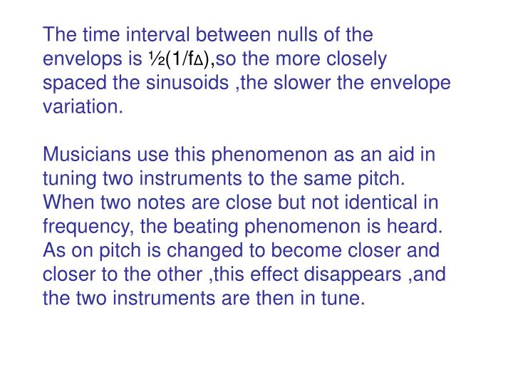 The time interval between nulls of the envelops is