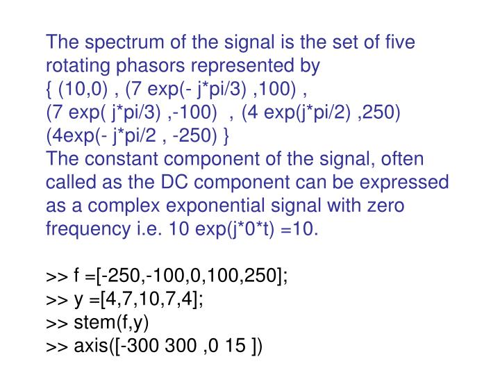 The spectrum of the signal is the set of five rotating phasors represented by