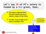 let s say 2 of pi s salary is funded by a nih grant then