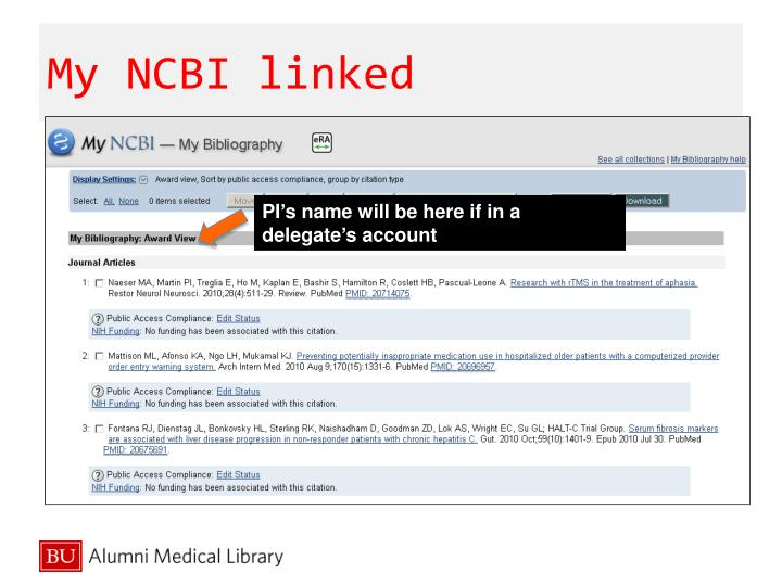 My NCBI linked