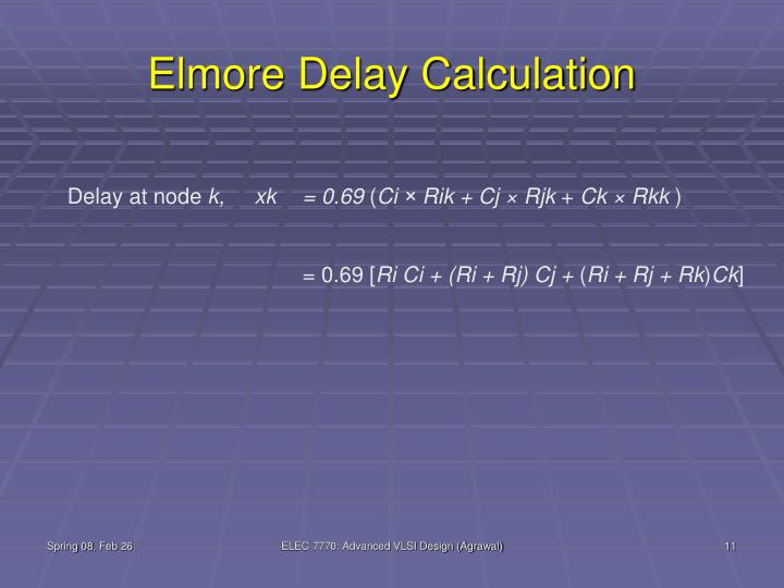 Elmore Delay Calculation