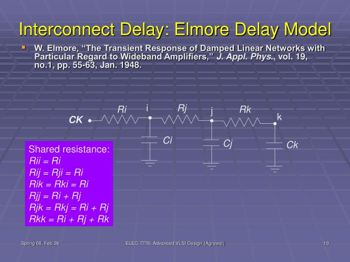 Interconnect Delay: Elmore Delay Model