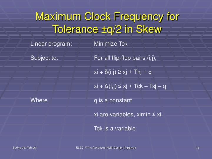 Maximum Clock Frequency for Tolerance