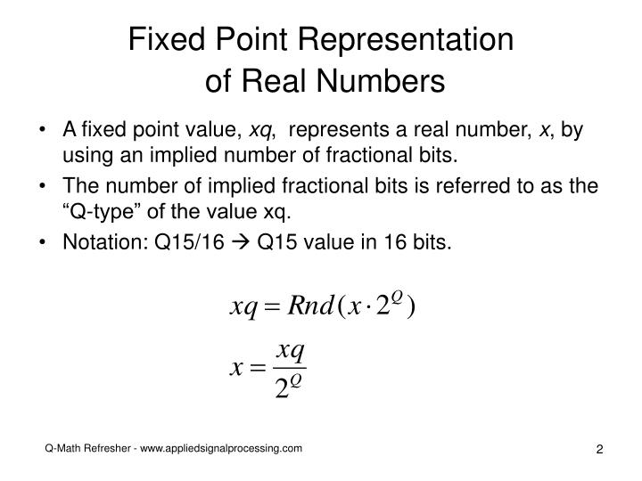 Fixed point representation of real numbers