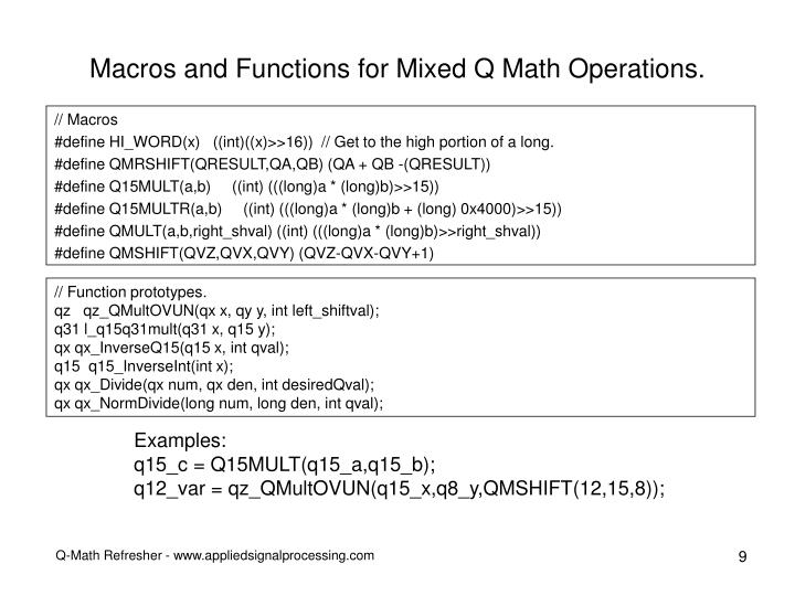 Macros and Functions for Mixed Q Math Operations.