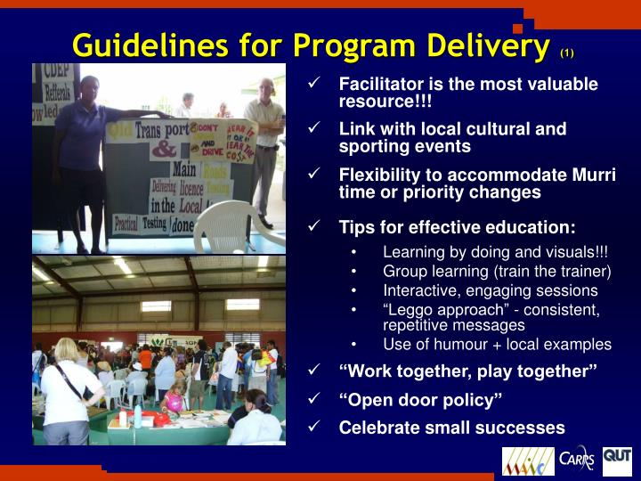 Guidelines for Program Delivery