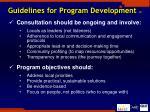 guidelines for program development 1