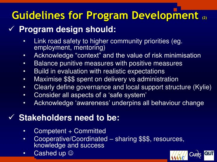 Guidelines for Program Development