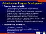 guidelines for program development 2