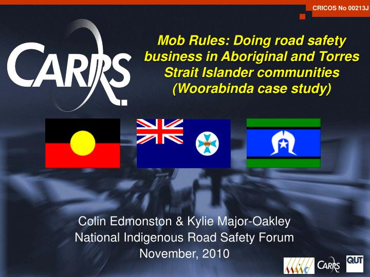 Mob Rules: Doing road safety business in Aboriginal and Torres Strait Islander communities (Woorabin...