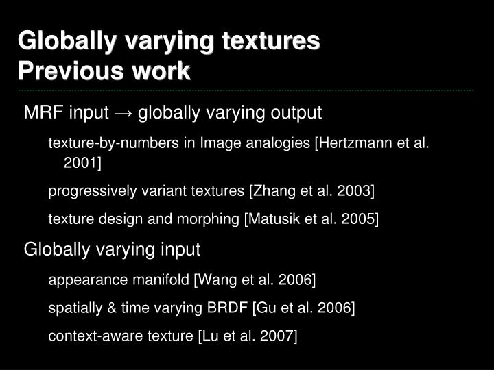 Globally varying textures