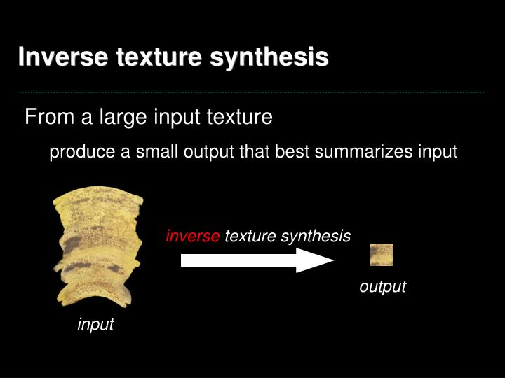 Inverse texture synthesis1