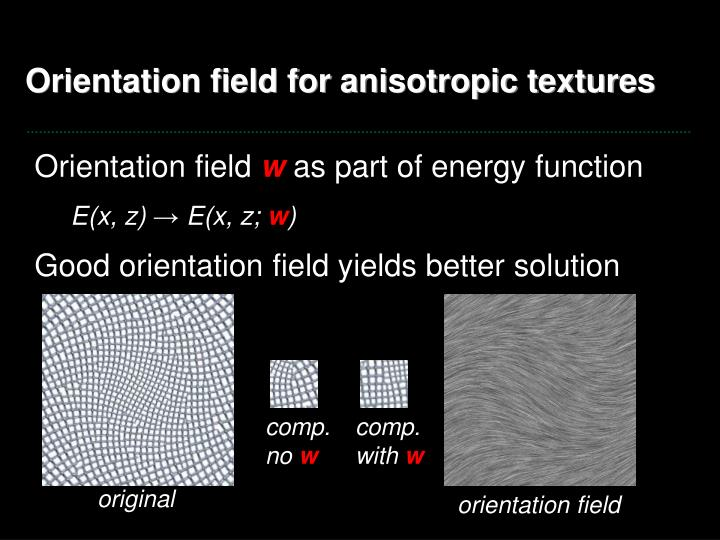 Orientation field for anisotropic textures