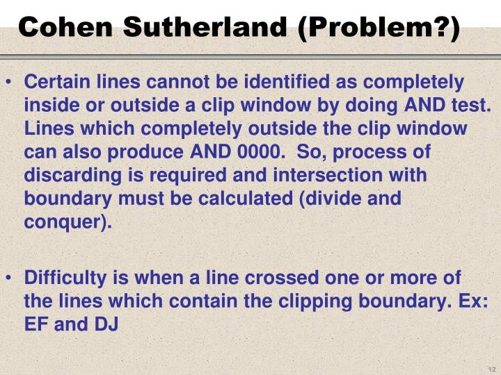Cohen Sutherland (Problem?)