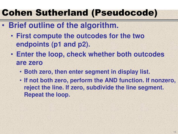 Cohen Sutherland (Pseudocode)