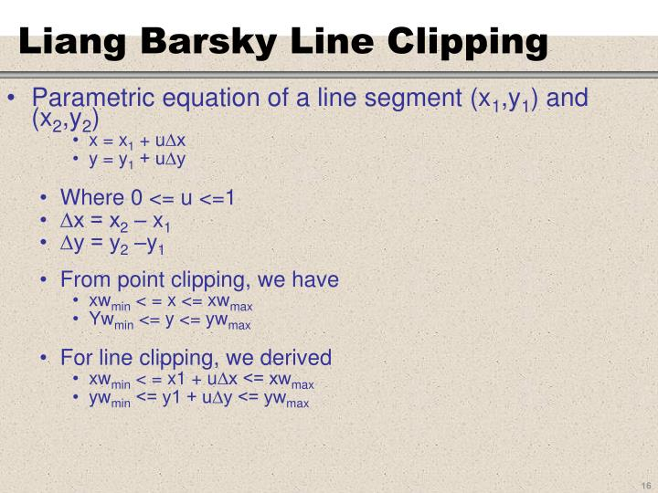 Liang Barsky Line Clipping