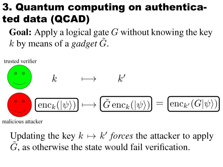 3. Quantum computing on authentica-ted data (QCAD)
