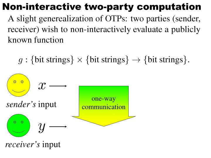 Non-interactive two-party computation