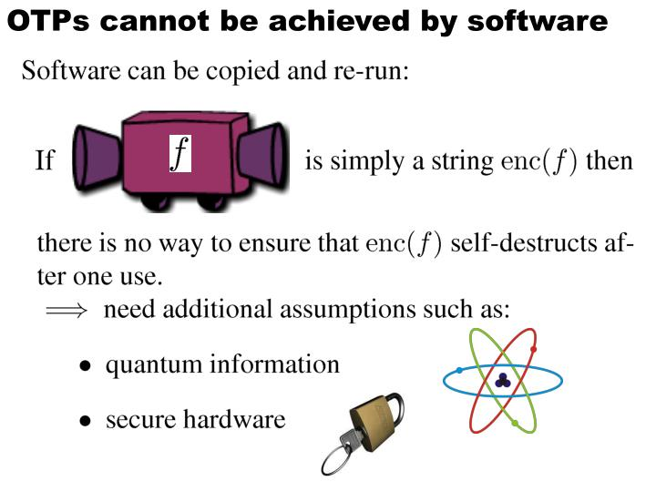OTPs cannot be achieved by software