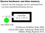 secure hardware one time memory