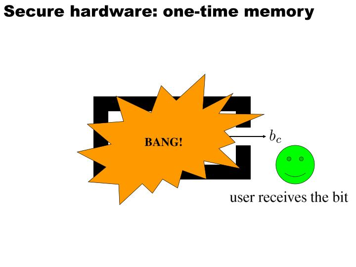 Secure hardware: one-time memory