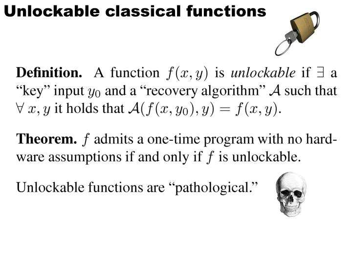 Unlockable classical functions