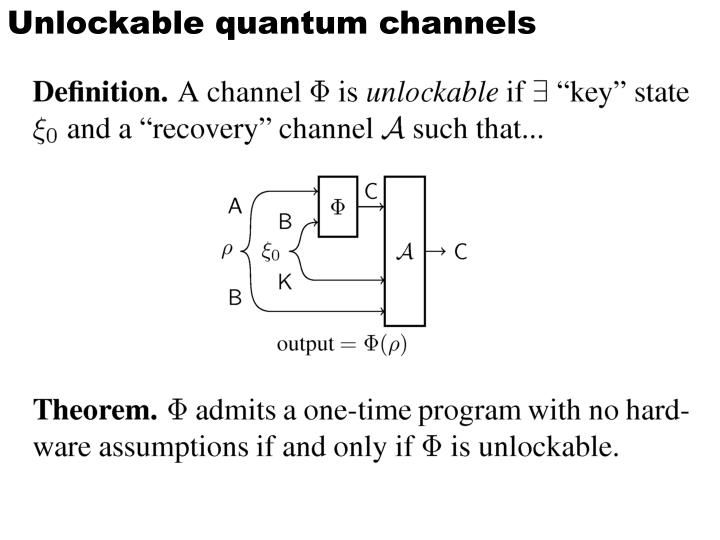Unlockable quantum channels