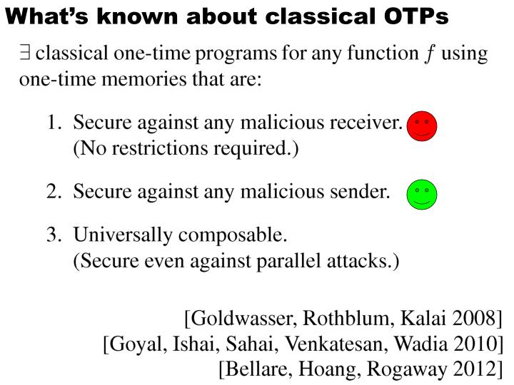 What's known about classical OTPs
